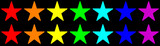 Two rows of multicolored stars in rainbow colors