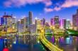 Miami, Florida, USA Biscayne Bay Skyline