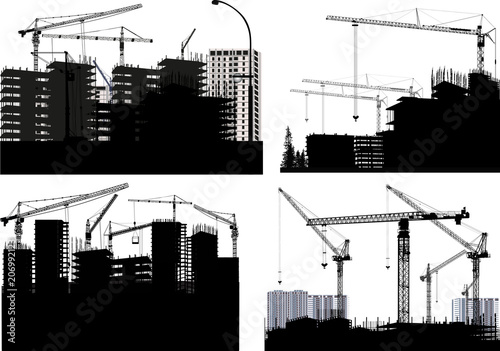 four black industrial compositions with cranes