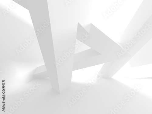 Abstract Modern White Architecture Background - 206994373