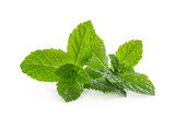 Fresh mint leaves isolated on white - 206996900