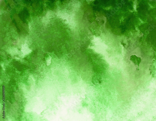 Green watercolor background. by drawing - 206999909