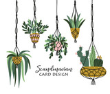 Macrame plant hangers in scandinavian interior. Vector stylish elements design. - 207003169