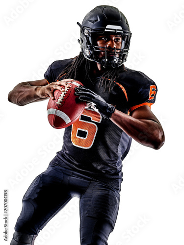 Fotobehang Voetbal one american football player man isolated on white background