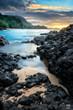 Kauapea (Secret) Beach during sunset, Kauai, Hawaii