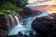 Waterfall at Queen's Bath during sunset, Kauai, Hawaii