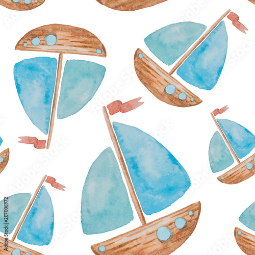 Cotton fabric Seamless pattern on a sea theme painted watercolor on a white background