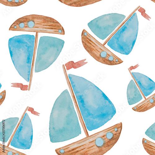 Materiał do szycia Wzór na morze motywy malowane akwarela na białym tle