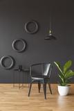 Dark black living room interior - 207008755