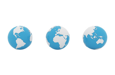 Set of 3d earth globe isolated on white background