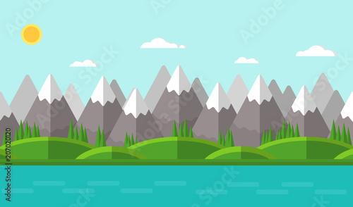 Aluminium Lichtblauw Vector illustration. Summer mountain landscape. Flat design.