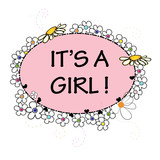 Baby girl. It's a girl.Baby shower greeting card. Colorful Daisy flower banner
