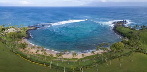 This is a three image aerial panoramic of stunning Kapalua Bay on the Hawaiian Island of Maui.