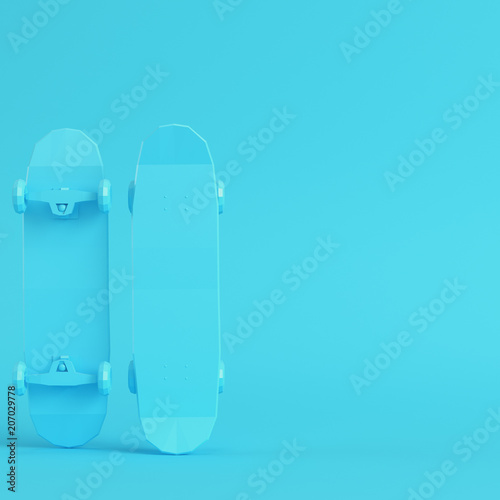 Aluminium Skateboard Low poly skateboard deck on bright blue background in pastel colors