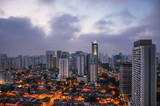 View of the city skyline in the early morning light with houses and buildings under cloudy skies in the city of São Paulo. The gigantic city, famous for its cultural and business vocation. - 207042995