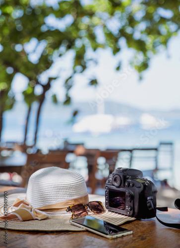 Fotobehang Konrad B. Summer holiday, vacation accessories - tropical area
