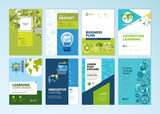 Set of brochure design templates on the subject of education, school, online learning. Vector illustrations for flyer layout, marketing material, annual report cover, presentation template. - 207055584