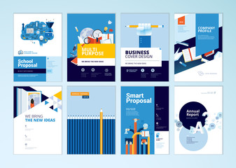 Set of brochure design templates on the subject of education, school, online learning. Vector illustrations for flyer layout, marketing material, annual report cover, presentation template. © PureSolution