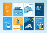 Set of brochure design templates on the subject of education, school, online learning. Vector illustrations for flyer layout, marketing material, annual report cover, presentation template. - 207056151