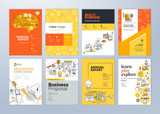 Set of brochure design templates on the subject of education, school, online learning. Vector illustrations for flyer layout, marketing material, annual report cover, presentation template. - 207056754
