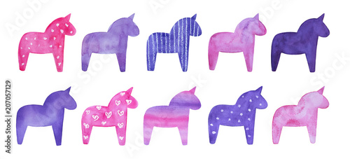 Set of decorative magical horse shapes with different effects. Hand painted water color sketchy drawing on white background, isolated clip art. Templates for decoration, creative design, scrapbooking.