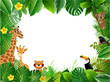 Bright tropical background with cartoon; jungle; animals; - 207072194