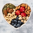 Healthy snack in heart shaped bowl - 207081521