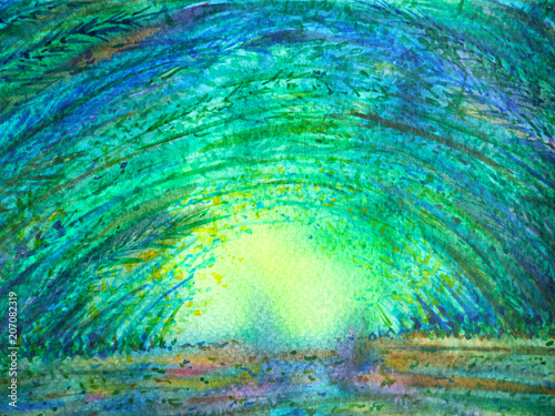 bamboo green forest arch tunnel sun lighting watercolor painting illustration design hand drawn