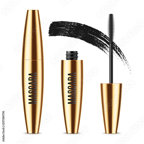 68fd0ae2a42 Realistic vector golden Mascara Bottle, brush and mascara Brush Strokes. Black  wand, strokes
