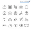 Traveling line icons. Editable stroke. Pixel perfect.