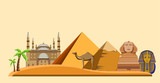 Egypt background with Great Sphinx and pyramids. - 207086149