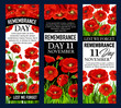Poppy flower banner for Remembrance Day design