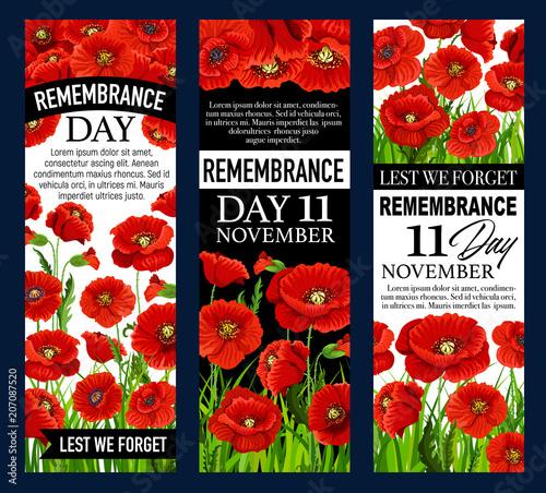 Poppy flower banner for Remembrance Day design