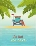 Lifeguard station, sea, sky and beach. - 207087938