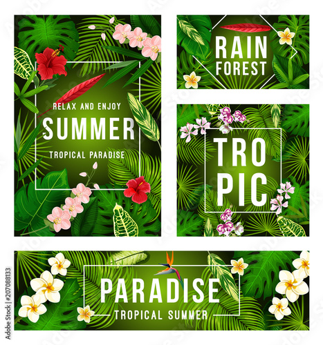 Summer tropical banner with exotic floral frame - 207088133