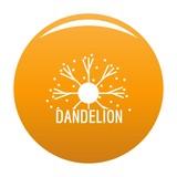 Dandelion logo icon. Simple illustration of dandelion vector icon for any design orange