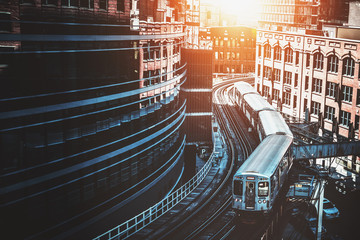 Train on elevated tracks at the Loop, Chicago