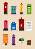 various kind of mailbox vector flat graphic design illustration set - 207095342
