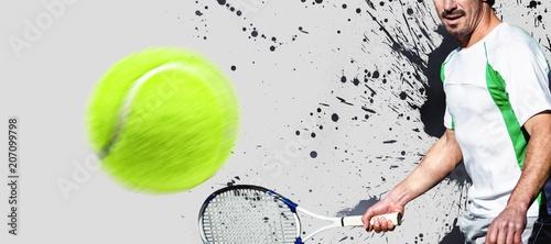 Fotobehang Tennis Composite image of tennisman