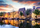 Amsterdam Canal houses at sunset reflections, Netherlands - 207100125
