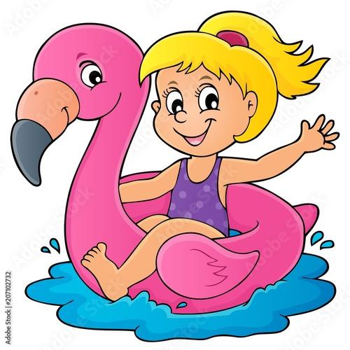 Canvas Voor kinderen Girl floating on inflatable flamingo 1