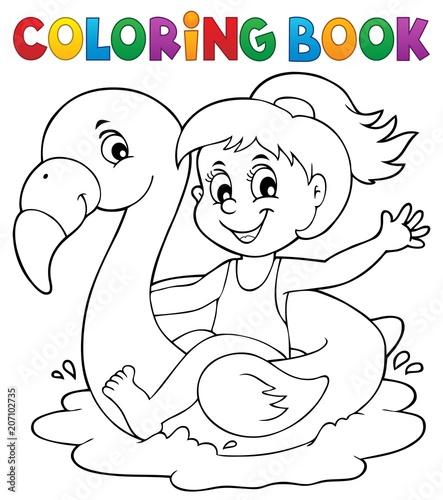 Canvas Voor kinderen Coloring book girl on flamingo float 1