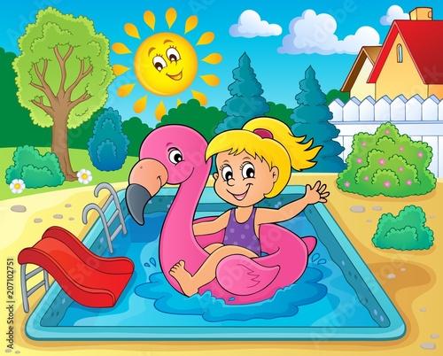 Canvas Voor kinderen Girl floating on inflatable flamingo 2