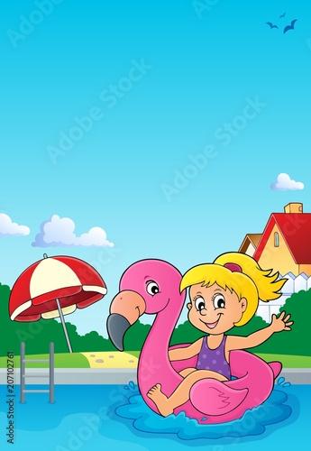 Canvas Voor kinderen Girl floating on inflatable flamingo 3