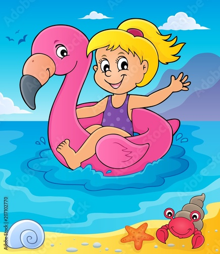 Canvas Voor kinderen Girl floating on inflatable flamingo 4