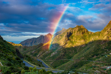 Rainbow over the Anaga mountains in Tenerife