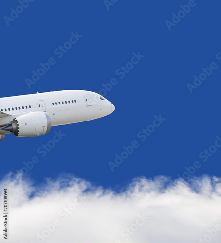 Airplane flying over blue sky and white cloud