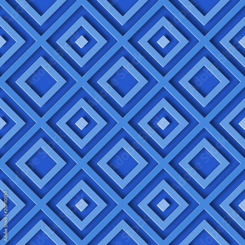 3D abstract seamless geometric blue pattern background with rhombus - 207110350
