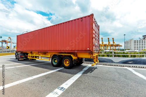 Truck transportation on the road with the blue sky