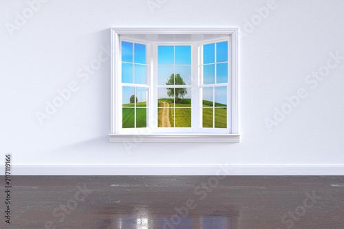 Intérieur fenêtre maison vue paysage nature - 207119166